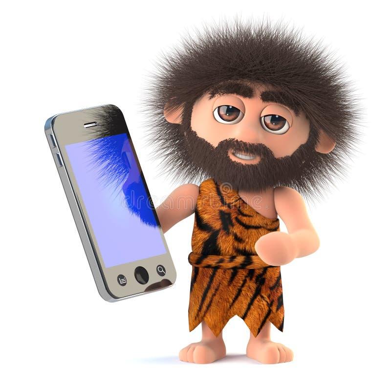 3d Funny cartoon caveman character has a smartphone tablet device stock illustration