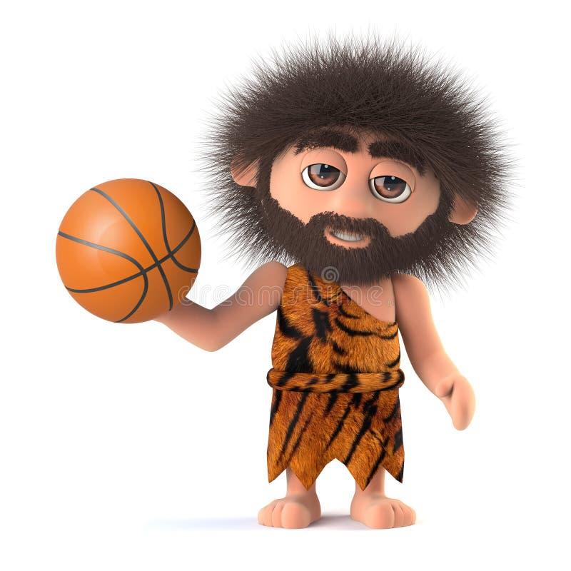 3d Funny cartoon caveman playing basketball vector illustration