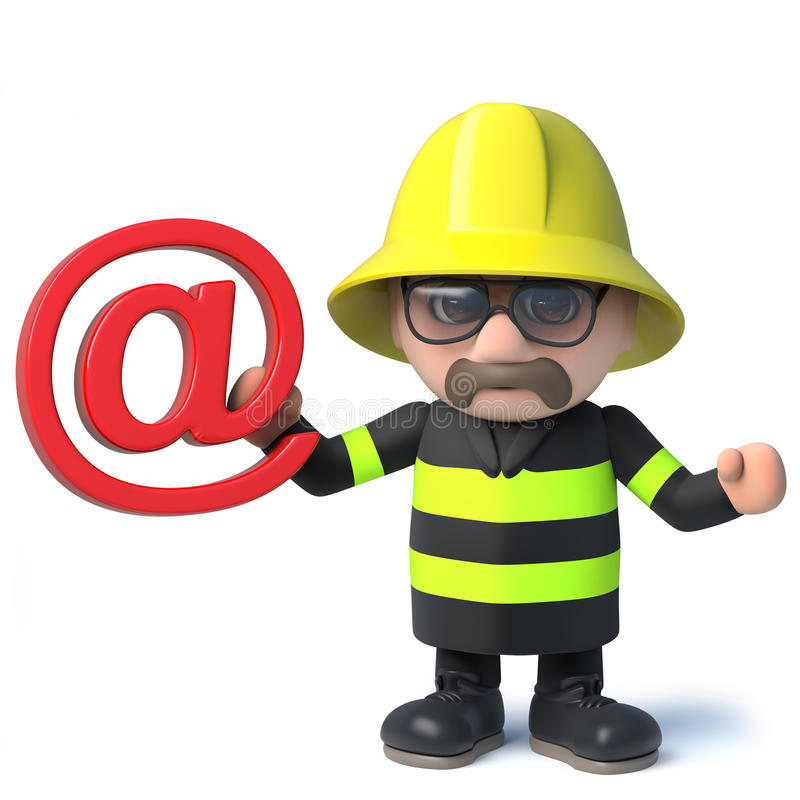 3d Funny cartoon fire fighter fireman holding an email address symbol. 3d render of a funny cartoon fire fighter fireman character holding an email address royalty free illustration