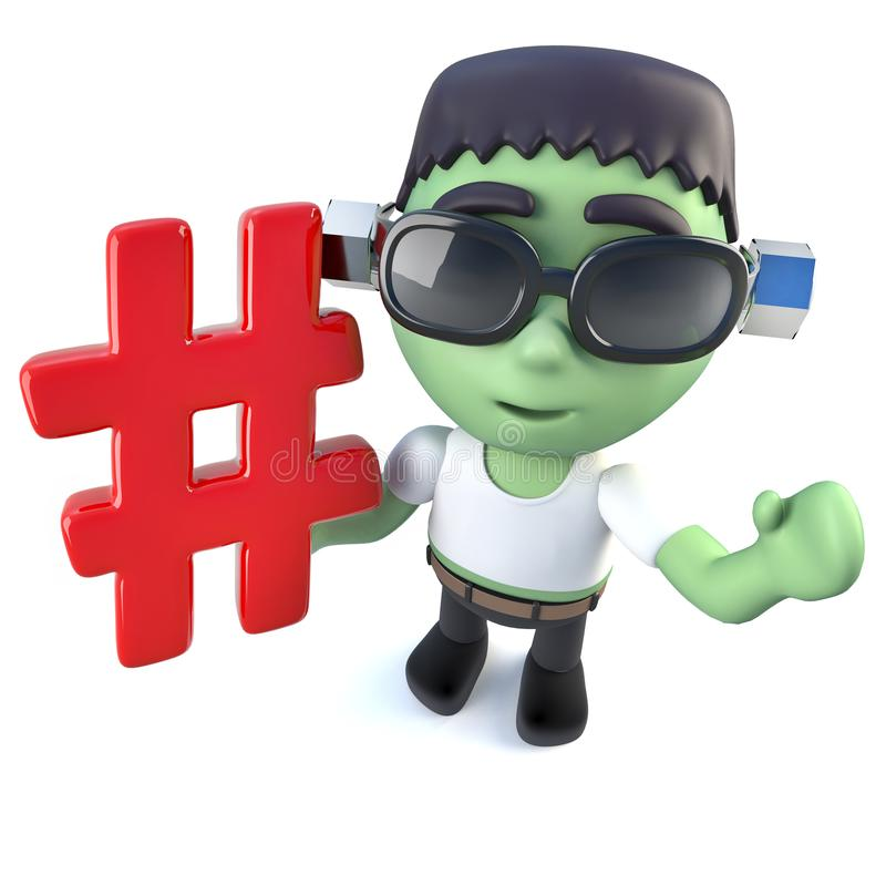 3d Funny Cartoon Frankenstein Monster Character Holding A Hashtag