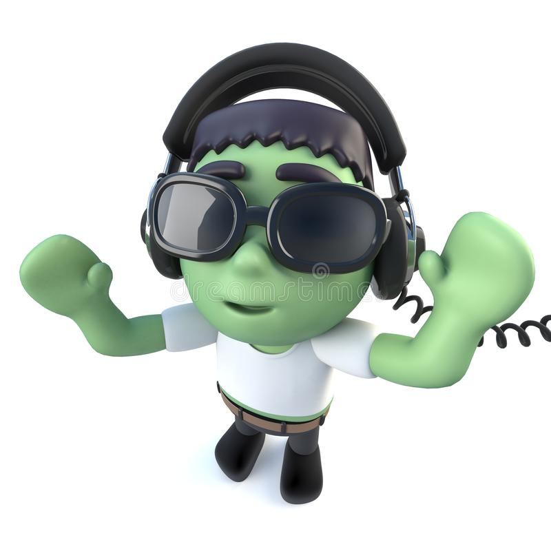 Cartoon Man Listen Music. Dancing Character With Mobile ...
