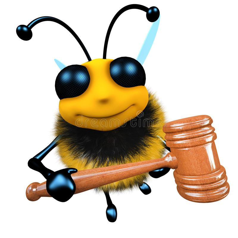 3d Funny cartoon honey bee character holding an auctioneer gavel royalty free illustration