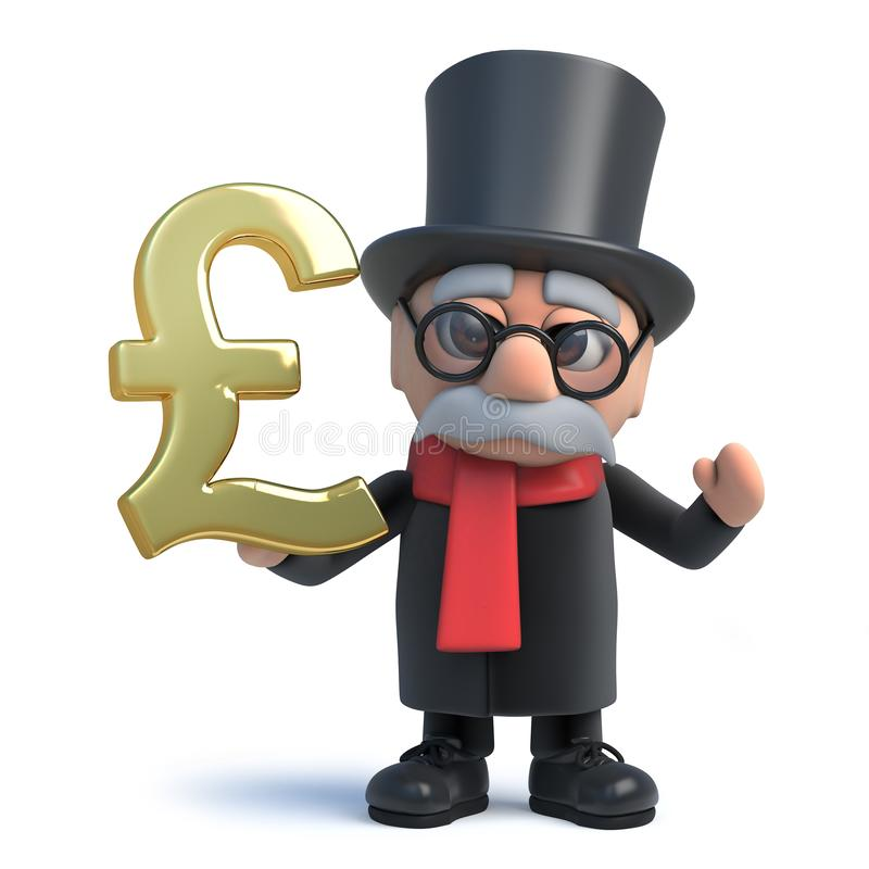 3d Funny cartoon lord character in top hat holding a gold UK Pound currency symbol vector illustration