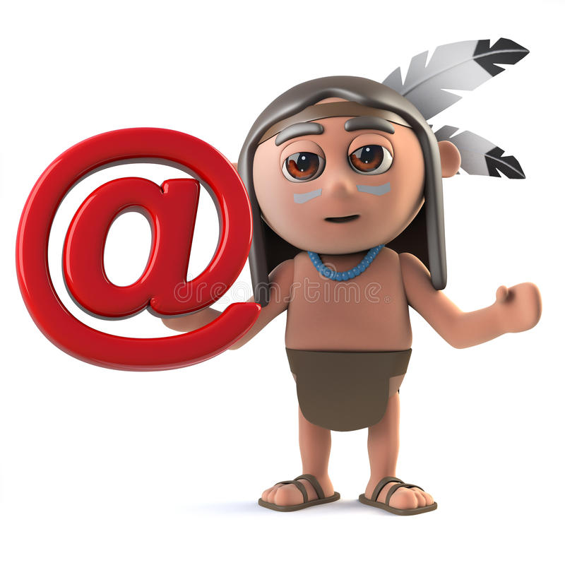 3d Funny cartoon Native American Indian character with email address symbol. 3d render of a funny cartoon Native American Indian character holding an email royalty free illustration