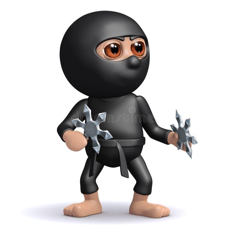 3d Funny cartoon Ninja warrior assassin with throwing stars stock illustration