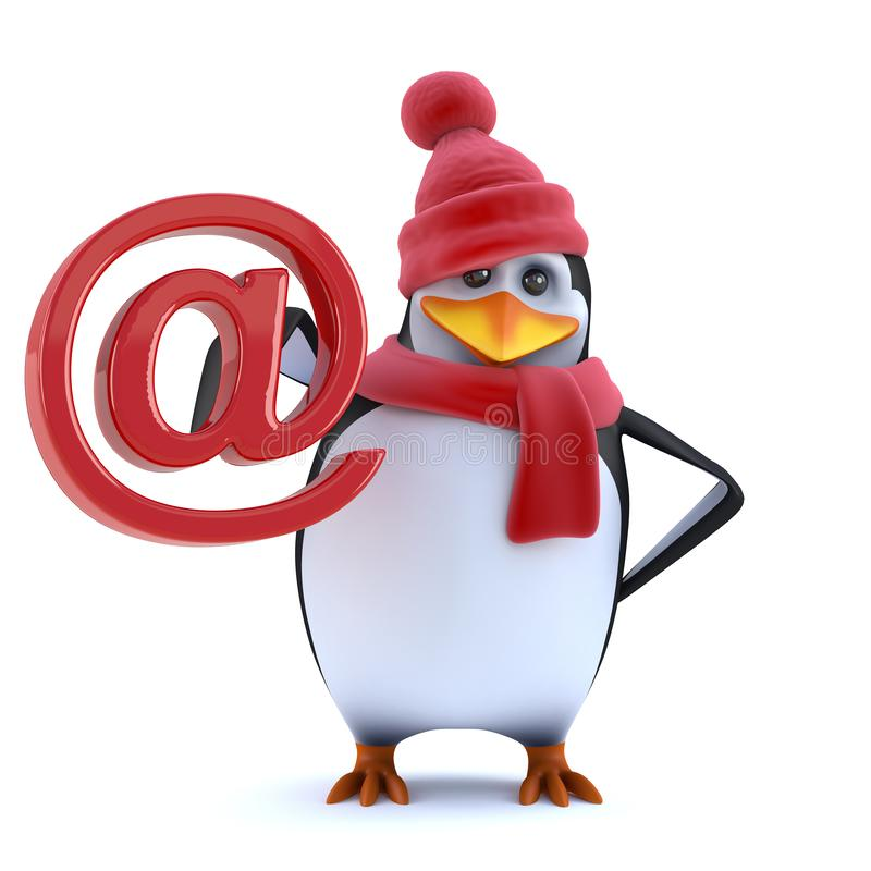 3d Funny cartoon penguin in winter woolens holds email address symbol. 3d render of a funny cartoon penguin character wearing a red wool hat with bobble and stock illustration