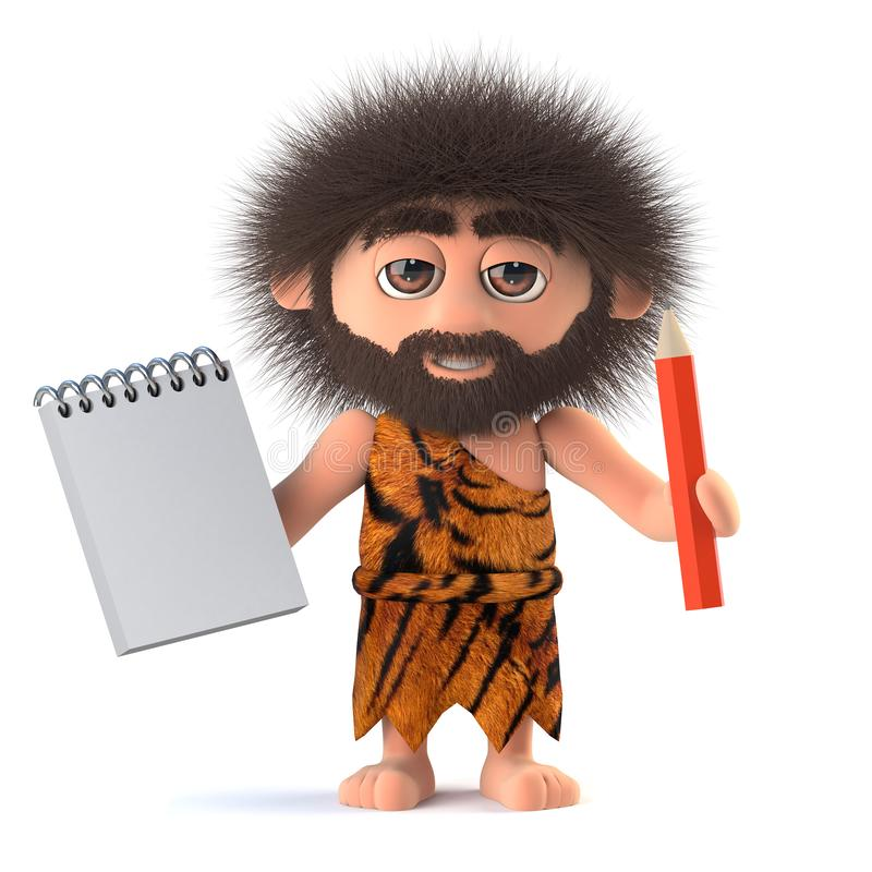 3d Funny cartoon primitive caveman character holding a notepad and pencil royalty free illustration