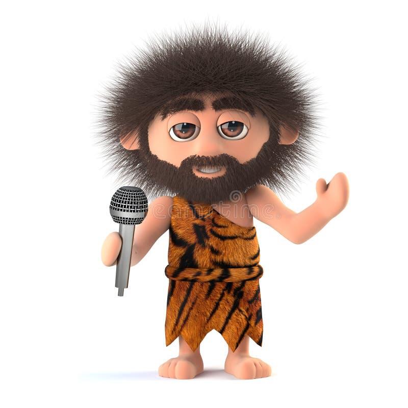 3d Funny cartoon primitive caveman character singing into a microphone vector illustration