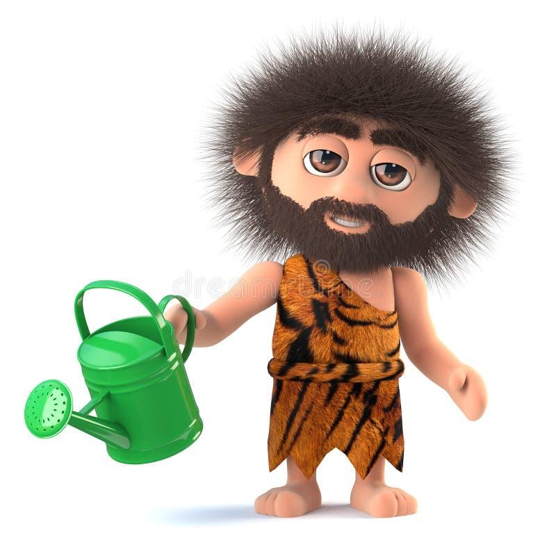 3d Funny cartoon primitive caveman watering his garden vector illustration