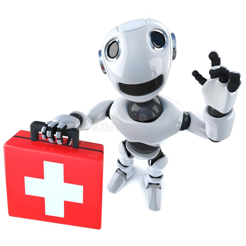 3d Funny cartoon robot character holding a first aid kit royalty free illustration
