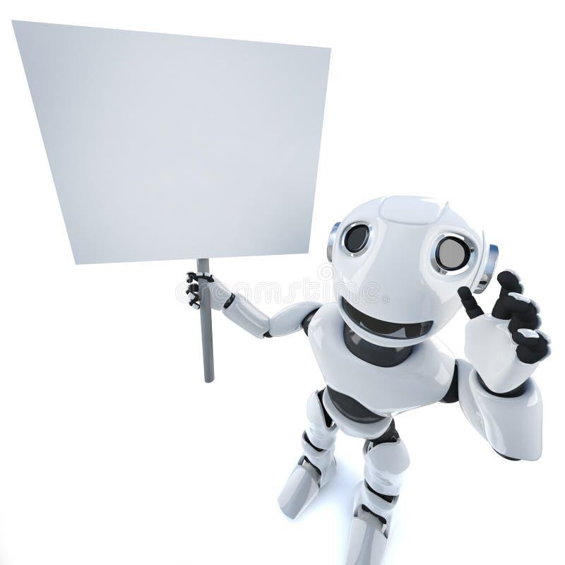 Personnage de robot de dessin animé drôle 3D tenant une affiche avec illustration vectorielle
