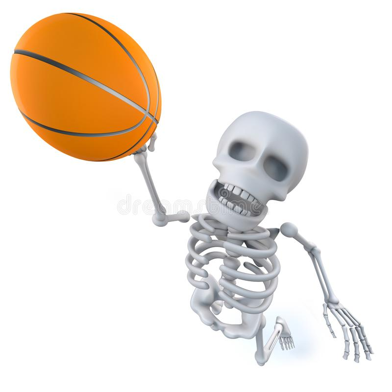 3d Funny cartoon skeleton shoots a basketball vector illustration