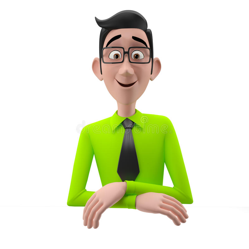 3d Funny Character, Cartoon Sympathetic Looking Business