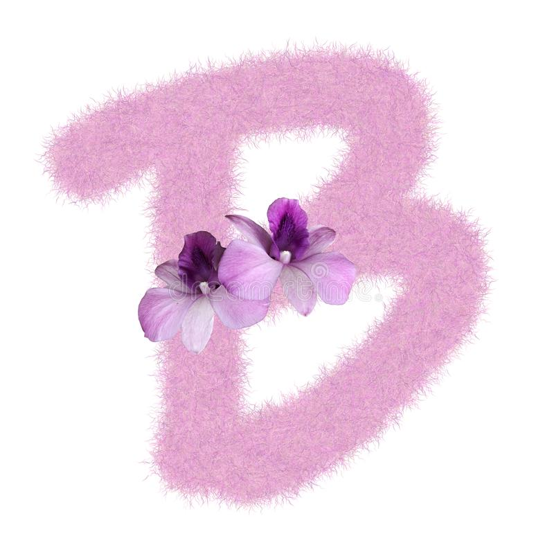 3D Fur Animal Hair Pink color Creative Decoration Character B decorate with purple orchid flower, isolated in white background. 3D Fur Animal Hair Pink color vector illustration