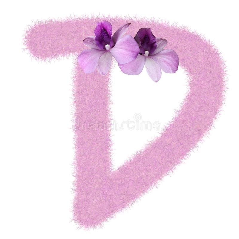 3D Fur Animal Hair Pink color Creative Decoration Character D decorate with purple orchid flower, isolated in white background. 3D Fur Animal Hair Pink color stock photo