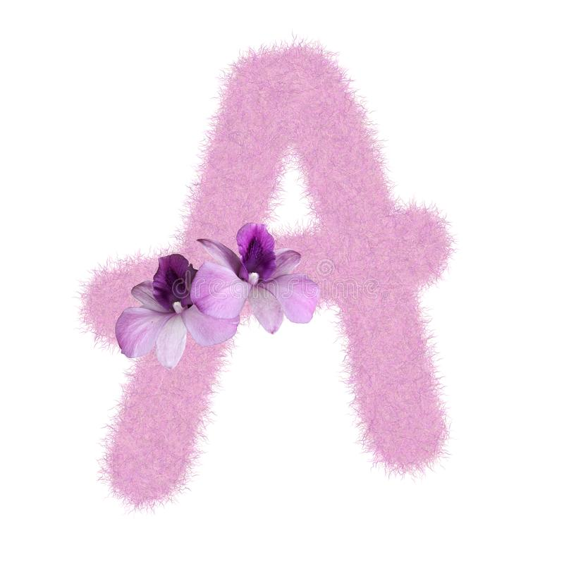 3D Fur Animal Hair Pink color Creative Decoration Character A decorate with purple orchid flower, isolated in white background. 3D Fur Animal Hair Pink color stock illustration