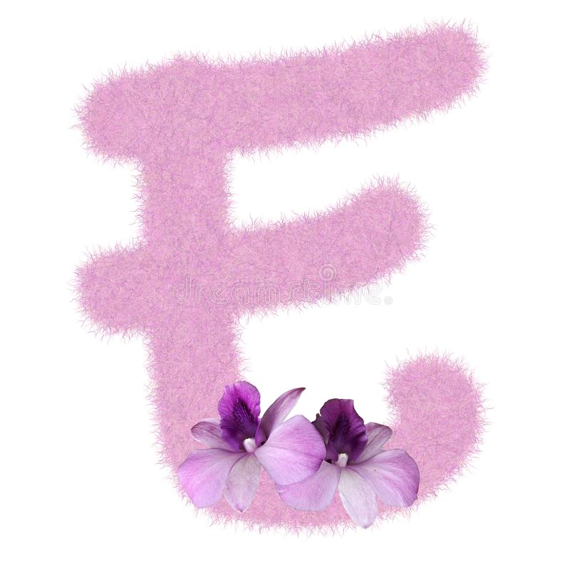 3D Fur Animal Hair Pink color Creative Decoration Character E decorate with purple orchid flower, isolated in white background. 3D Fur Animal Hair Pink color stock photography