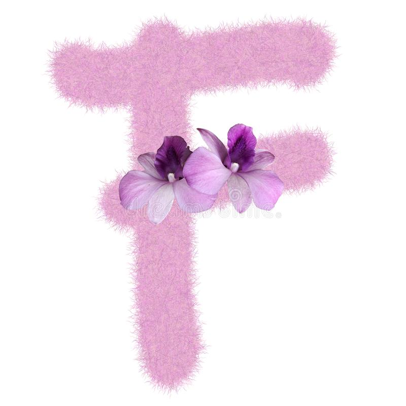 3D Fur Animal Hair Pink color Creative Decoration Character F decorate with purple orchid flower, isolated in white background. 3D Fur Animal Hair Pink color stock photo