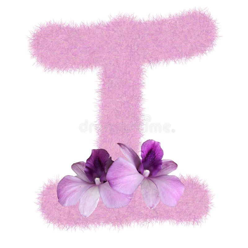 3D Fur Animal Hair Pink color Creative Decoration Character I decorate with purple orchid flower, isolated in white background. Has clipping path and dicut royalty free stock images