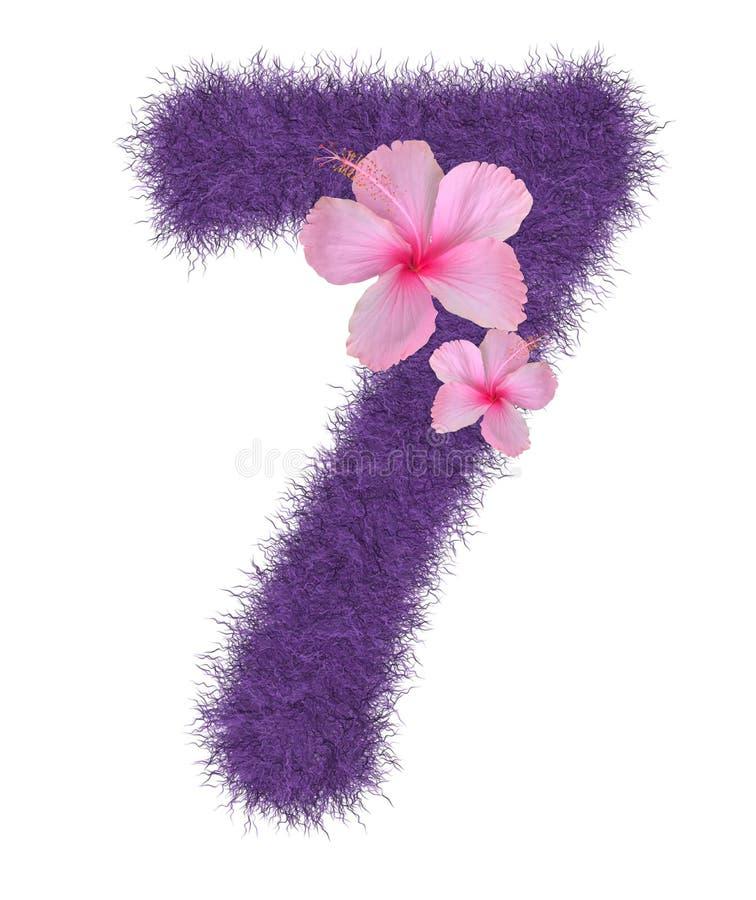 3D Fur Animal Hair Purple color Creative Decorative Number 7 декоративно с розовым цветком гибискуса, изолированный в белом фоне бесплатная иллюстрация