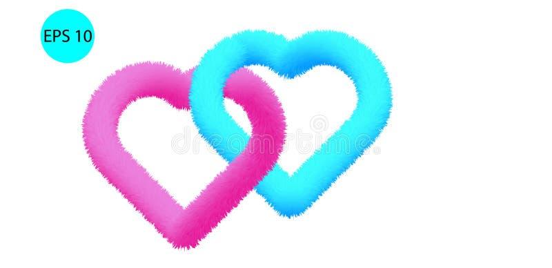 3D Fur Effect Pink Heart and Turquoise Heart Vectors. 3D Fur Effect Pink Heart and Turquoise Heart Combine Vectors vector illustration