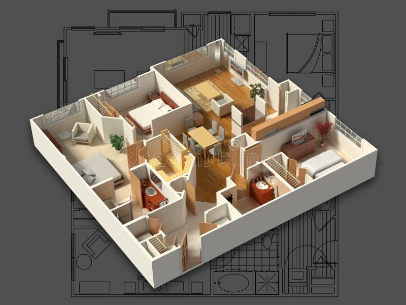 3D Furnished House Interior on a Blueprint stock illustration