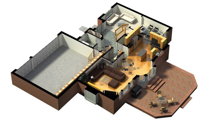 3D furnished house rendering royalty free illustration