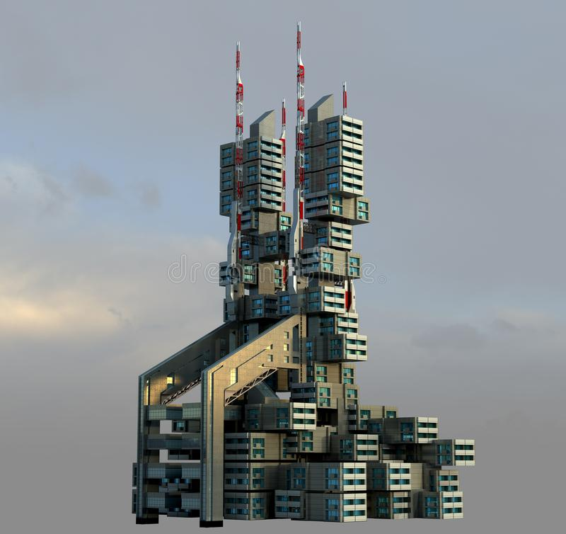 3D futuristic high-rise architecture. 3D rendering of a futuristic apartment building, in a modular, technologist architecture, for fantasy or science fiction royalty free illustration