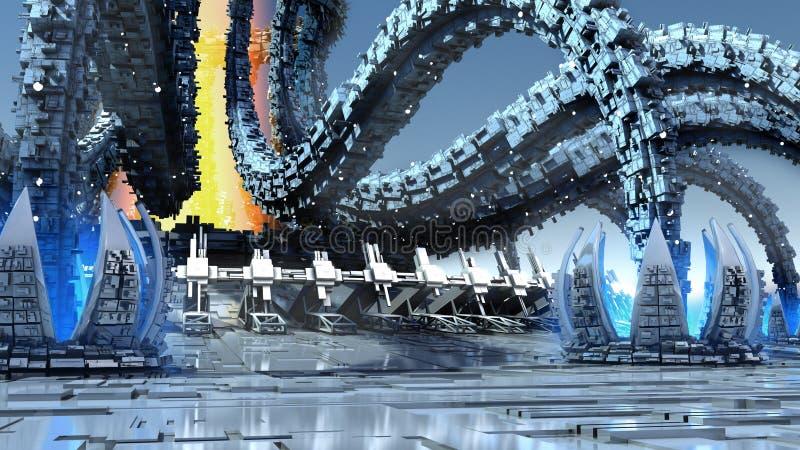 3D futuristic organic architecture vector illustration