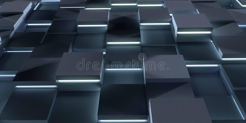 3d futuristici rendono il fondo della tecnologia dell'illustrazione Struttura astratta con i cubi d'ardore royalty illustrazione gratis