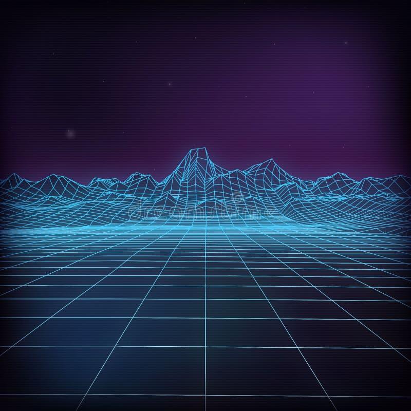 3d futurystyczna wektorowa ilustracja Wireframe futurystyczny krajobraz ilustracji