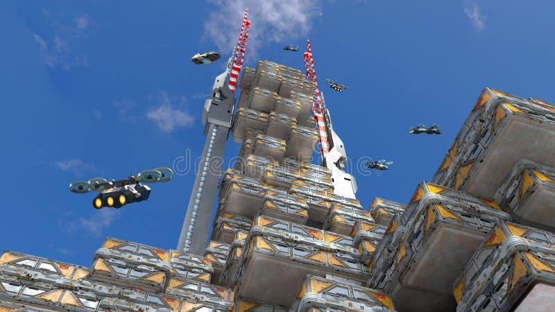 3D futurystyczna wysoka architektura ilustracja wektor