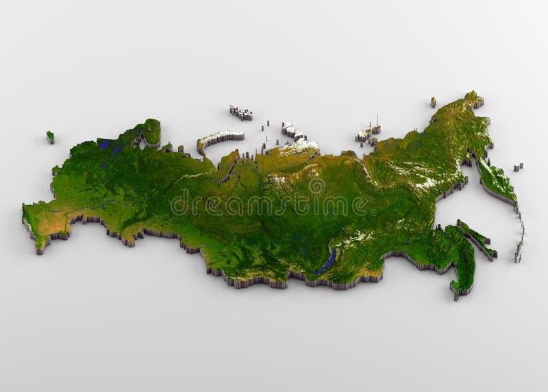 3D Fysieke Kaart van Rusland met Hulp stock illustratie
