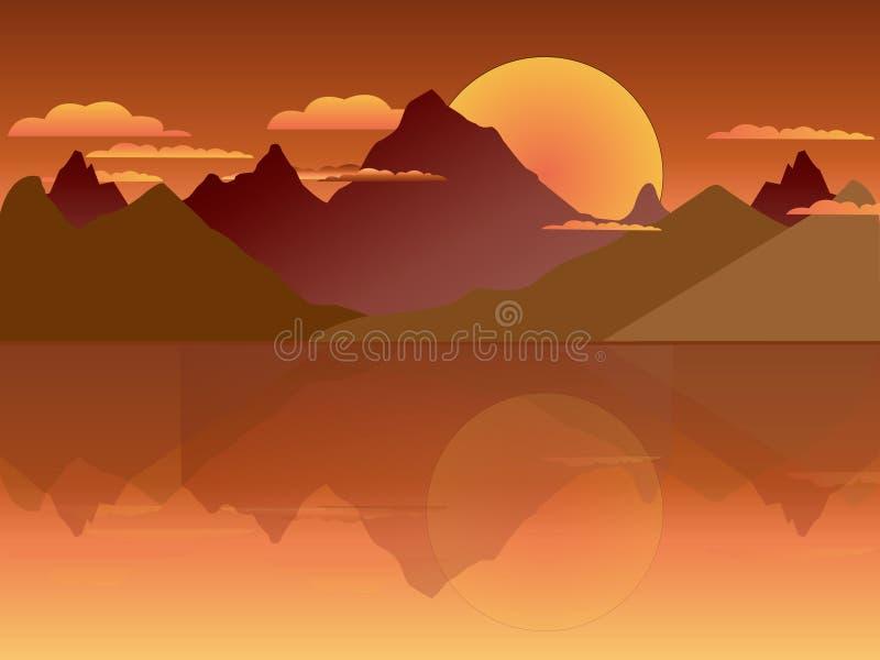 2D góra w zmierzchu tle ilustracja wektor