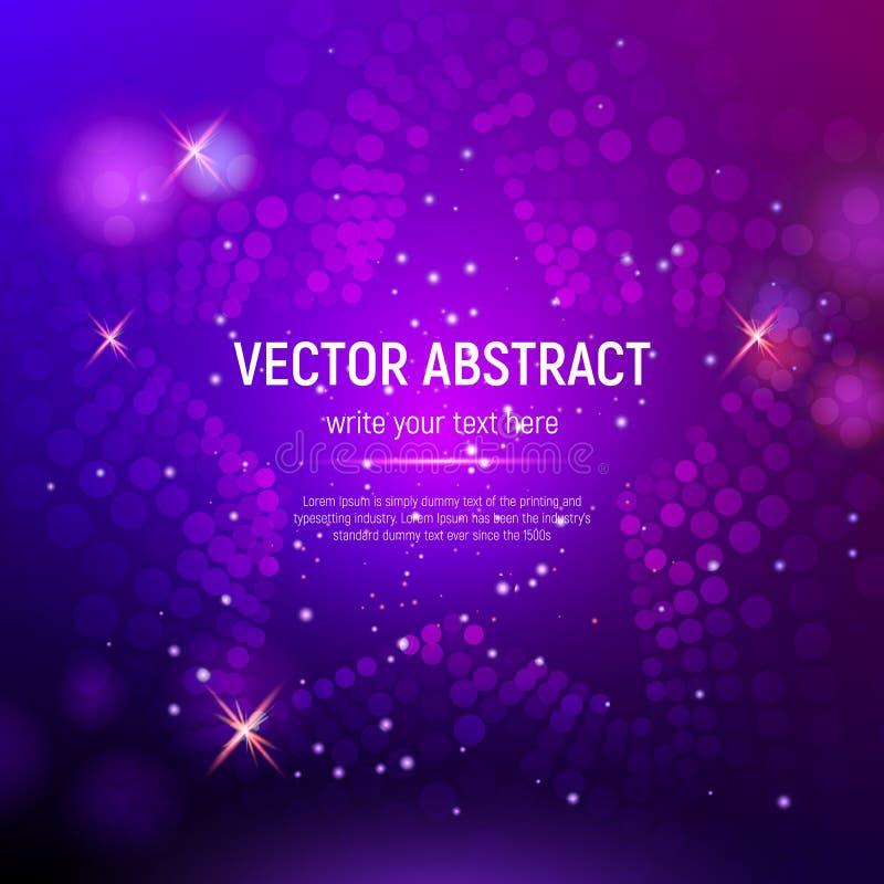 3D gör sammandrag bakgrund för lilaingreppsstjärnan med cirklar, linssignalljus och glödande reflexioner också vektor för coreldr royaltyfri illustrationer