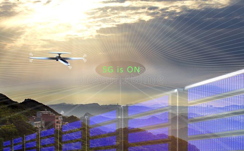 3d 5G网络连接概念翻译  向量例证