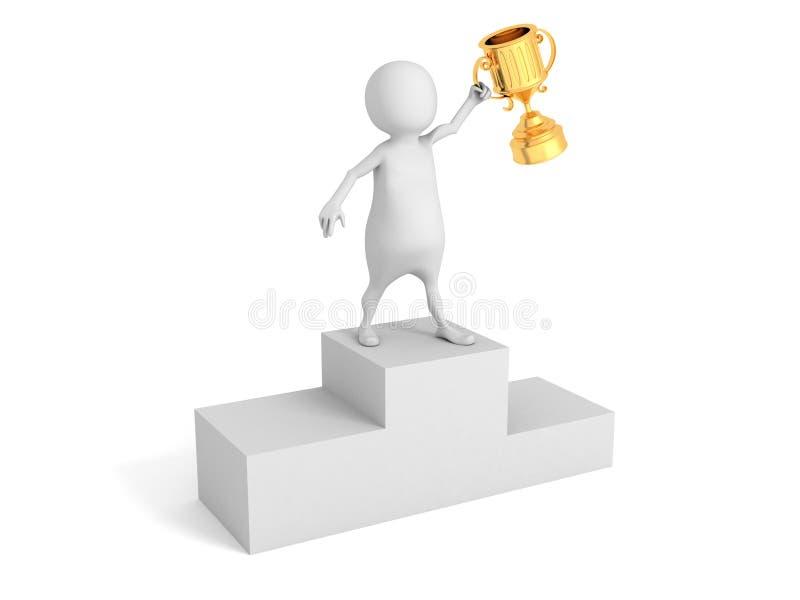 3d ganador blanco Person With Golden Trophy Cup fotografía de archivo libre de regalías