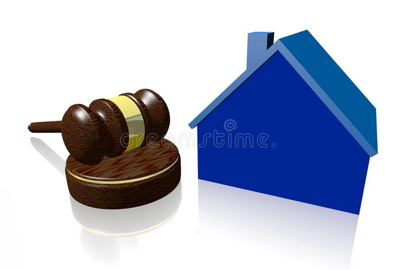 3D gavel - house sale concept stock images