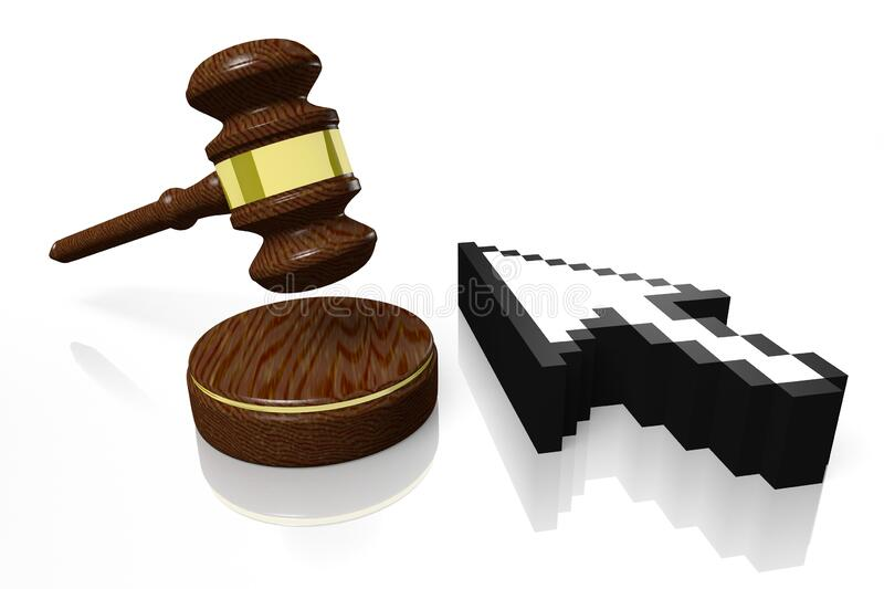 3D gavel - online/ Internet auction concept royalty free stock image