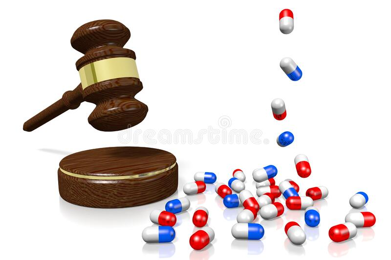 3D gavel, pills - medical law concept stock photography