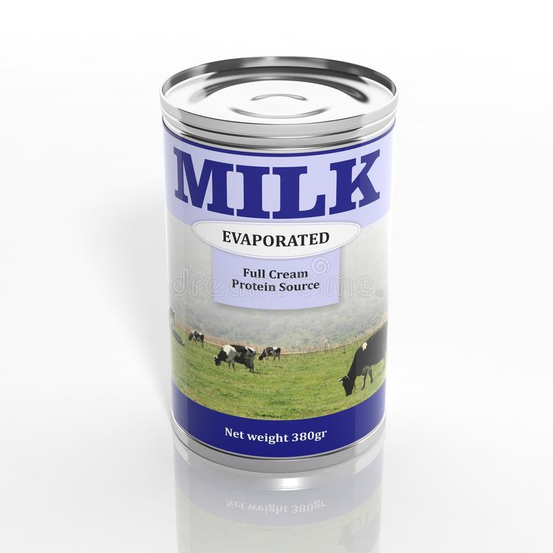 3D geëvaporeerde melk metaal kan stock illustratie