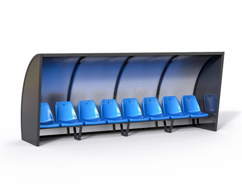 3D Geïsoleerde Blauwe Bank van het Voetbalvoetbal De Trainer van het sportsubstituut stock illustratie