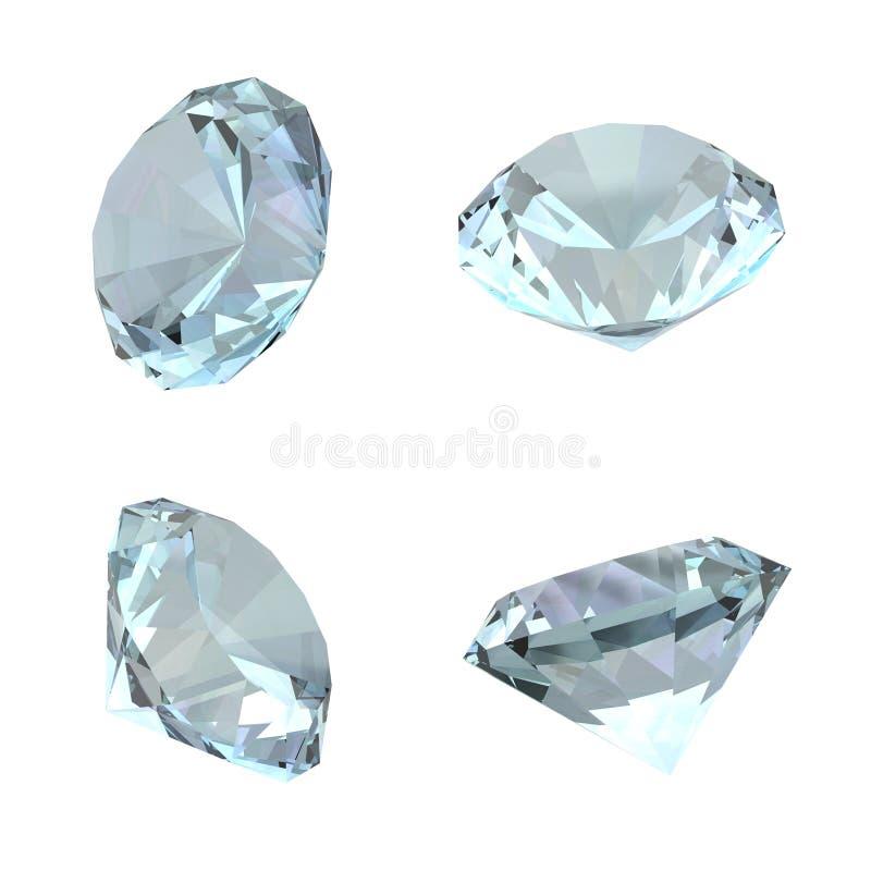 3D Geïsoleerde Diamanten - royalty-vrije illustratie