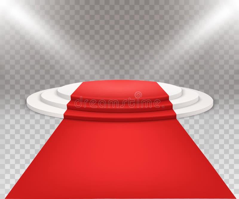 3D geïsoleerde drie stapten om wit podium met rood tapijt stock illustratie