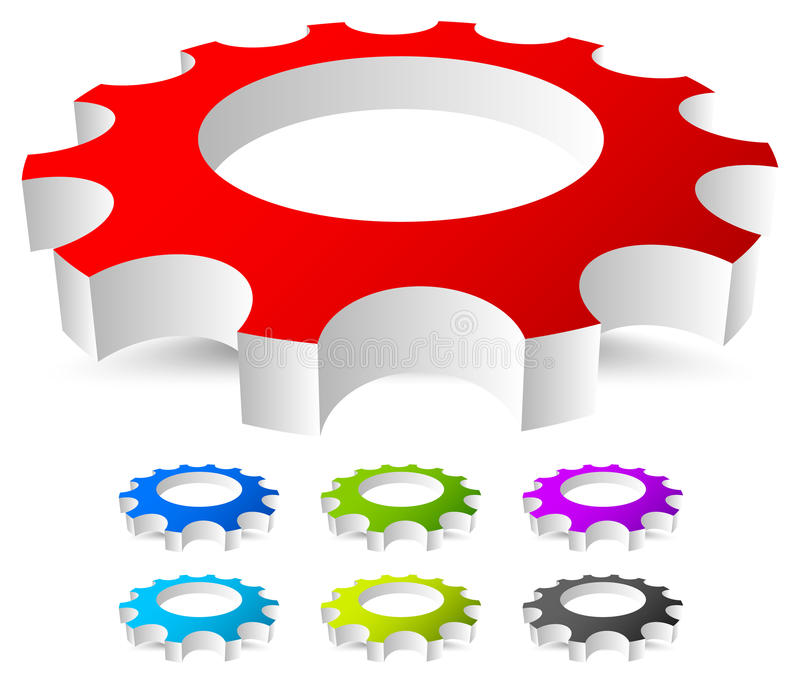 3D gear, gearwheel icon in 7 bright colors. Royalty free vector illustration vector illustration