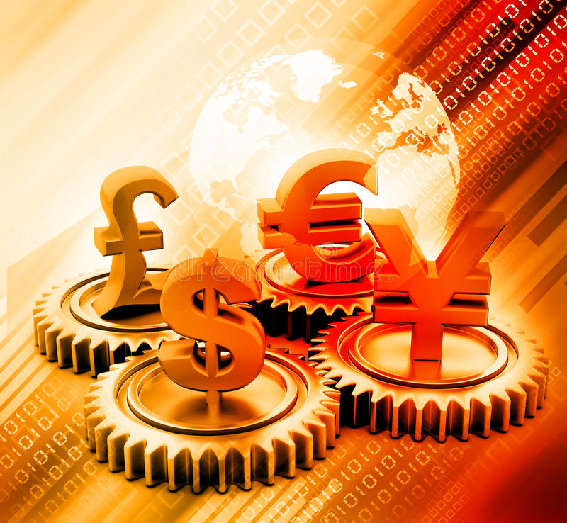 3d gear with global currency. On abstract background royalty free illustration
