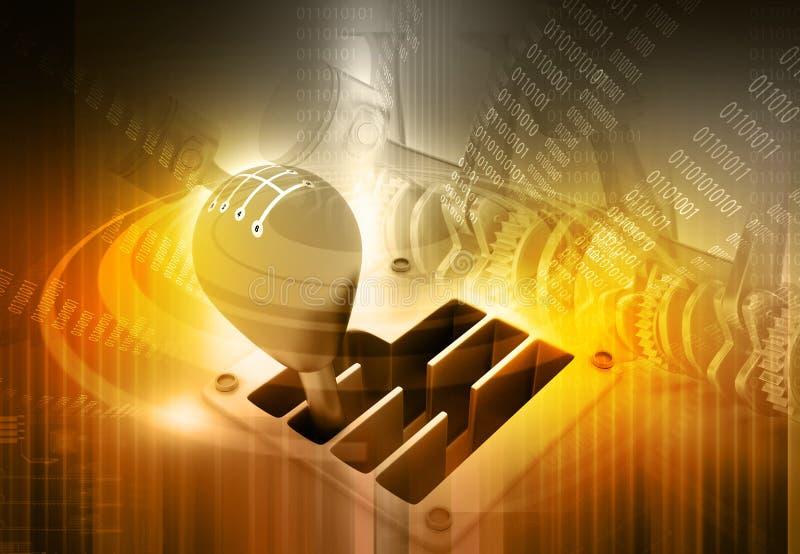 3d Gear stick. On technology background vector illustration