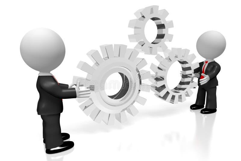 3D gears/teamwork/współpracy pojęcie ilustracji