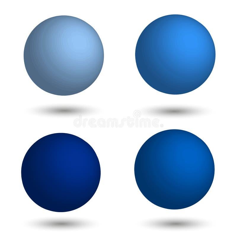 3D Gebied Reeks realistische ballen van verschillende schaduwen van blauw royalty-vrije illustratie