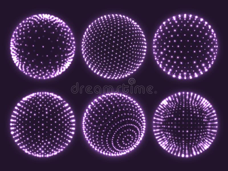 3d gebied van het meetkundenet, atoomorb, wetenschapsgrafiek van deeltjes of het virtuele pictogram van de werkelijkheidsbal Abst royalty-vrije illustratie